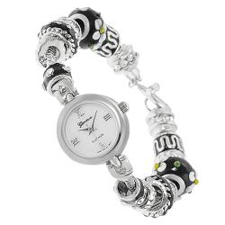 Geneva Platinum Women's Rhinestone-accented Beaded Toggle Watch