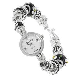 Geneva Platinum Women's Rhinestone-accented Beaded Toggle Watch