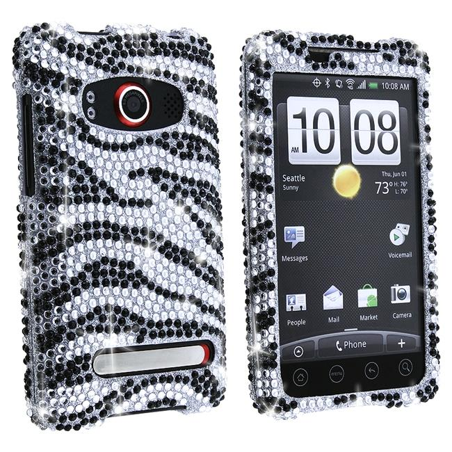Silver/ Black Zebra Diamond Case for HTC EVO 4G
