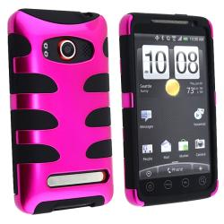 Black/ Pink Fishbone Snap-on Case for HTC EVO 4G