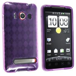 Clear/ Dark Purple Argyle TPU Rubber Case for HTC EVO 4G