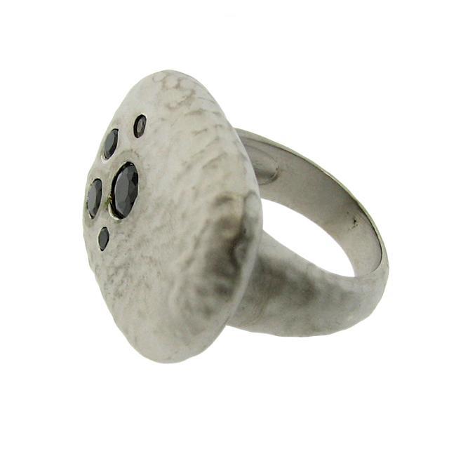 Silvertone Black Cubic Zirconia Satin Hammered Ring