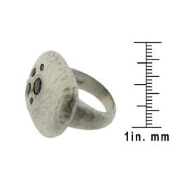 Silvertone Black Cubic Zirconia Satin Hammered Ring