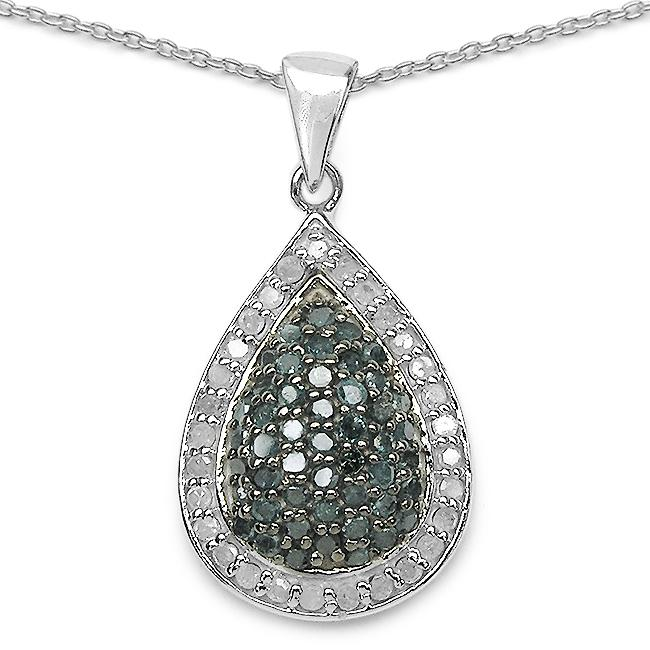 Malaika Gold over Silver 3/4ct TDW Blue and White Diamond Teardrop Halo Necklace (I-J, I2-I3)