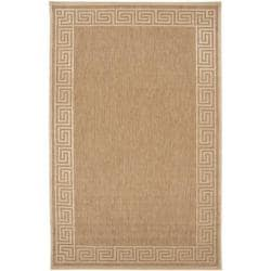 Woven Portera Indoor/Outdoor Geo Border Rug (3'9 x 5'8)