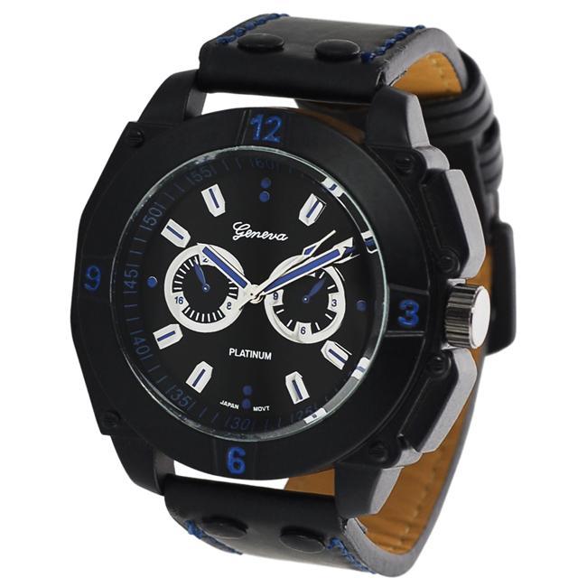 Geneva Platinum Men's Chronograph-style Strap Watch