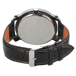 Geneva Platinum Men's Rhinestone-accented Genuine Leather Watch
