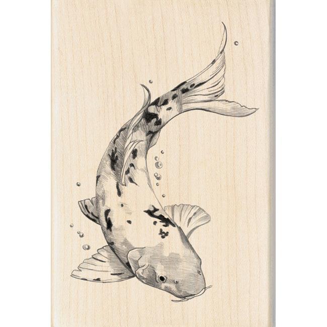 Inkadinkado Asian Koi Fish Mounted Rubber Stamp