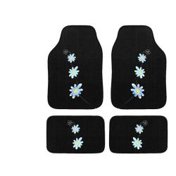 Automotive 4-piece Blue Daisy Embroidered Floor Mat Set