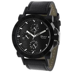 Geneva Platinum Men's Chronograph-style Leather Strap Watch