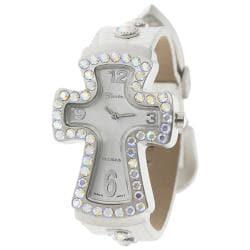 Geneva Platinum Women's Rhinestone-accented Cross Watch