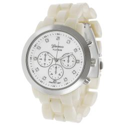 Geneva Platinum Women's Rhinestone-accented Mother of Pearl Link Watch