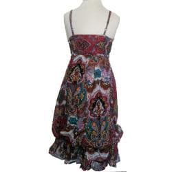 Women's Cotton Pink Floral Print Ruffle Dress (Nepal)