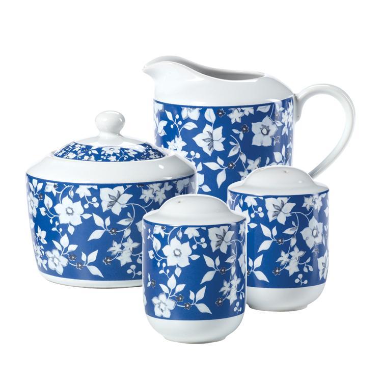 Pfaltzgraff Blue Meadows Sugar Bowl w/ Lid, Creamer, and Salt and Pepper Set