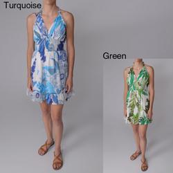 Good Times Junior's Smocked Waist Floral Halter Dress