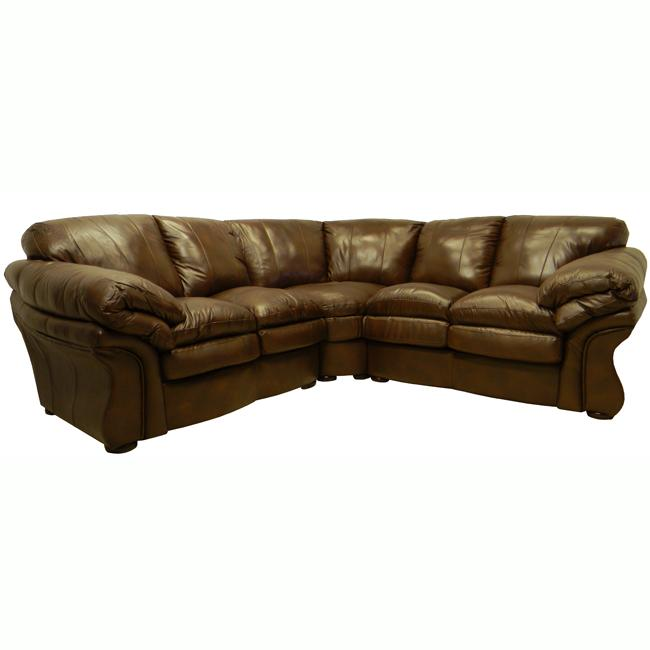 Lincoln Brown Italian Leather Sectional Sofa 13642003