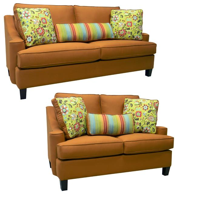 Joliet burnt orange fabric sofa bed sleeper and loveseat free shipping today overstock com