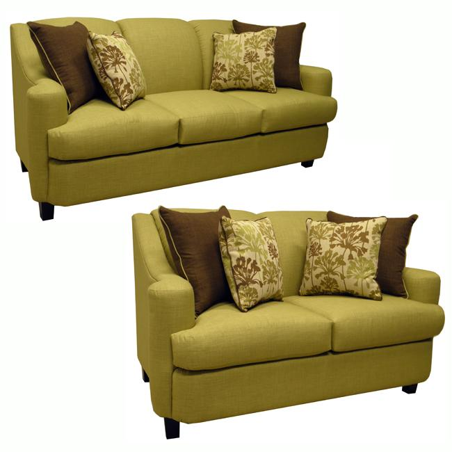 lansing lime green fabric sofa and loveseat 13642010