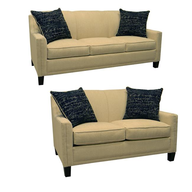Avery cream fabric sofa bed sleeper and loveseat for Sofa bed overstock