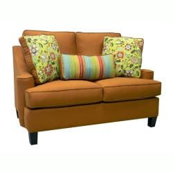 Joliet Burnt Orange Fabric Sofa Bed Sleeper and Loveseat