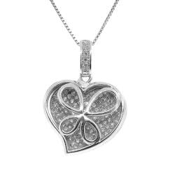 Sterling Silver Clear Cubic Zirconia Cutout Butterfly Heart Necklace