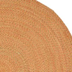 Hand-woven Reversible Peach/ Green Braided Rug (6' Round)