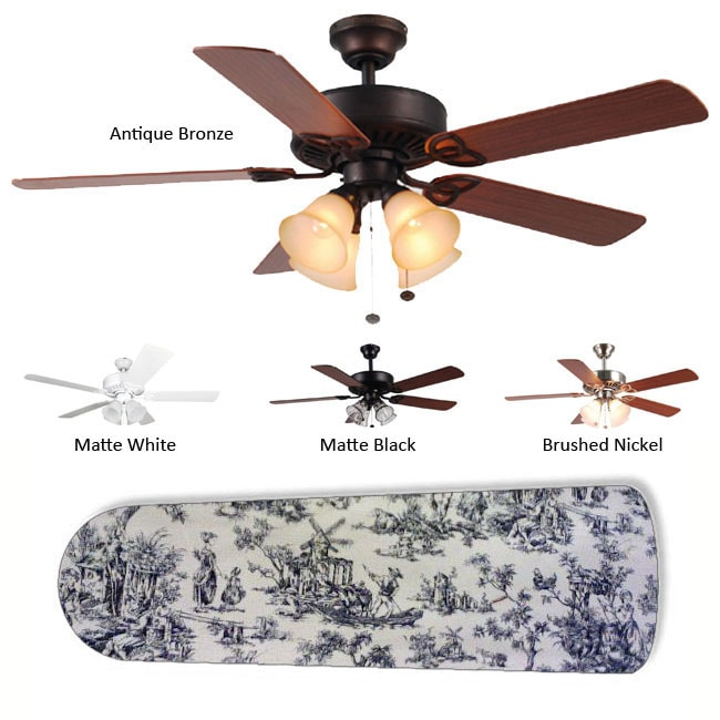 New Image Concepts 4-Lamp 'Black Toile' Ceiling Fan