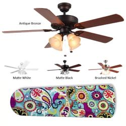 New Image Concepts 4-Lamp 'Funky Paisley' Ceiling Fan