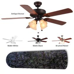 New Image Concepts 4-Lamp 'Black Leather' Ceiling Fan