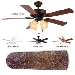 New Image Concepts 4-Lamp 'Brown Leather' Ceiling Fan