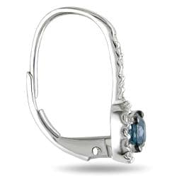 Miadora 14k White Gold 3/4ct TDW Blue and White Diamond Hoop Halo Earrings(G-H, I2-I3)