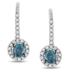 Miadora 14k White Gold 3/4ct TDW Blue and White Diamond Hoop Halo Earrings(G-H, I2-I3)