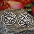 Sterling Silver Beaded Flower Earrings (Mexico)