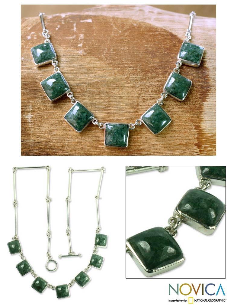 Sterling Silver 'Love's Riches' Jade Necklace (Guatemala)