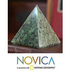 Nephrite 'Nature Mystique' Pyramid Sculpture (Peru)