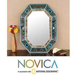 Reverse painted Glass Infinite Aqua Wall Mirror (Peru)