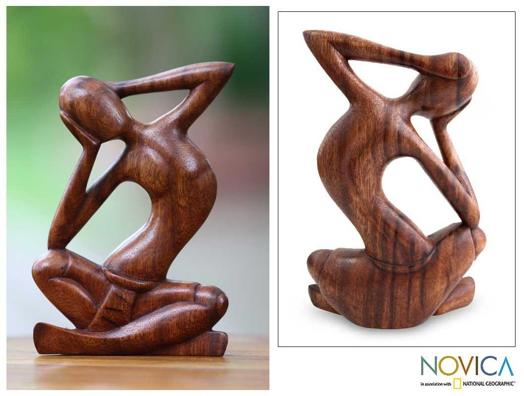 Wood 'How Do I Look' Sculpture, Handmade in Indonesia