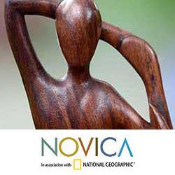 Wood 'Yoga Stretch' Sculpture (Indonesia)