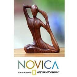 Wood 'Yoga Stretch' Sculpture (Indonesia)
