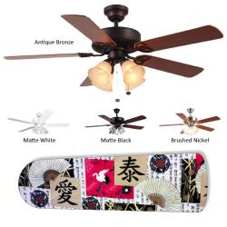 New Image Concepts 4-lamp Asian Art Blade Ceiling Fan