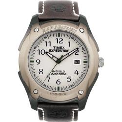 Timex Men's T46971 Expedition Aluminum Trail Series Leather Strap Watch