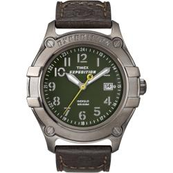 Timex Men's T49804 Expedition Trail Series Metal Field Brown Leather Strap Watch
