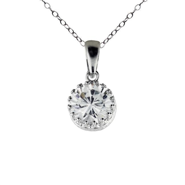 Gioelli Sterling Silver Round-cut Cubic Zirconia Necklace