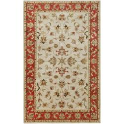 Hand-knotted Mandara Ivory New Zealand Wool Rug (5' x 8')