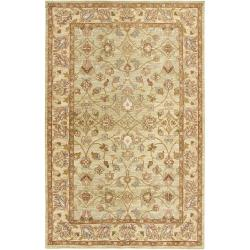 Hand-knotted Mandara Green New Zealand Wool Rug (5' x 7'6)
