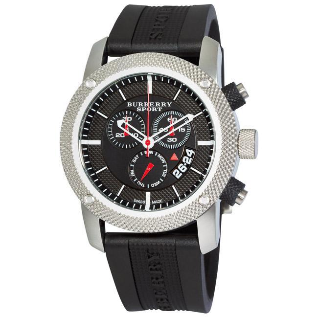 burberry s sport chronograph black rubber