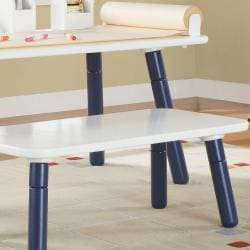 3 Stages Kid's Art Table and Bench Set in White and Blue Finish