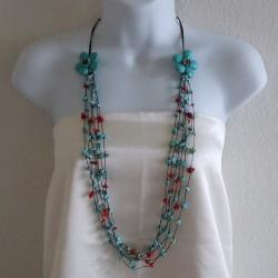 Cotton Long Double Flowers Turquoise and Red Coral Necklace (Thailand)