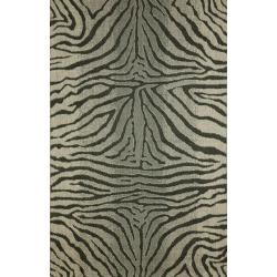 Zebra Animal Print Black Rug (4'11 x 7'6)