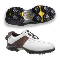 FootJoy Men's Contour White/ Brown Golf Shoes with BOA Lacing System
